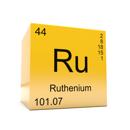 Ruthenium chemical element symbol from the periodic table displayed on glossy yellow cube