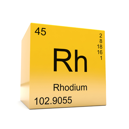 Rhodium chemical element symbol from the periodic table displayed on glossy yellow cube Imagens