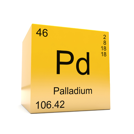 Palladium chemical element symbol from the periodic table displayed on glossy yellow cube