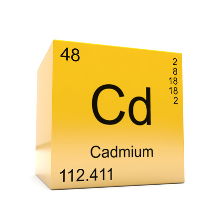 Cadmium chemical element symbol from the periodic table displayed on glossy yellow cube