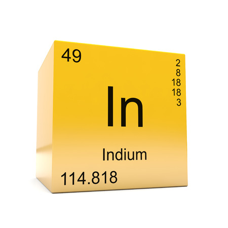 Indium chemical element symbol from the periodic table displayed on glossy yellow cube