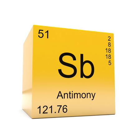 Antimony chemical element symbol from the periodic table displayed on glossy yellow cube