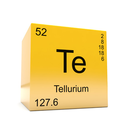 Tellurium chemical element symbol from the periodic table displayed on glossy yellow cube