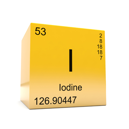 Iodine chemical element symbol from the periodic table displayed on glossy yellow cube
