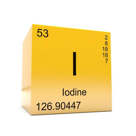 Symbol für chemische Jodelemente aus dem Periodensystem auf glänzendem gelbem Würfel
