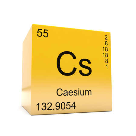 Caesium chemical element symbol from the periodic table displayed on glossy yellow cube