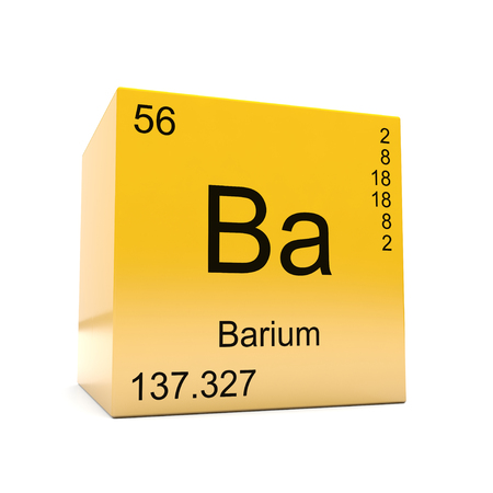 Barium chemical element symbol from the periodic table displayed on glossy yellow cube