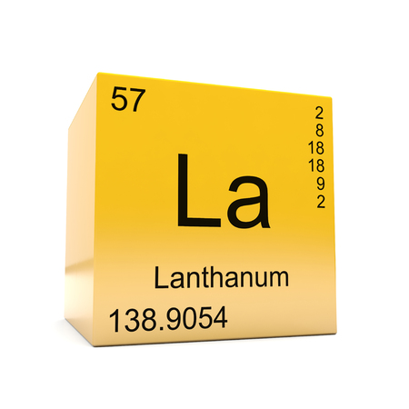 Lanthanum chemical element symbol from the periodic table displayed on glossy yellow cube