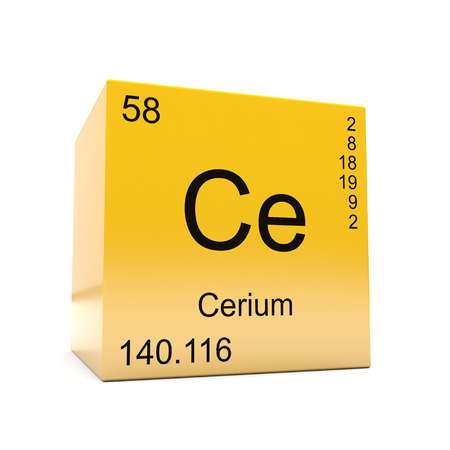 Cerium chemical element symbol from the periodic table displayed on glossy yellow cube