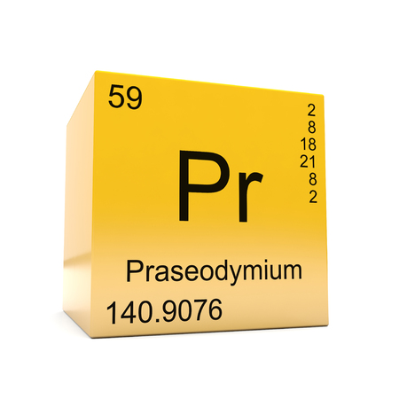 Praseodymium chemical element symbol from the periodic table displayed on glossy yellow cube