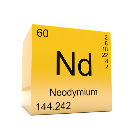 Neodymium chemical element symbol from the periodic table displayed on glossy yellow cube Imagens