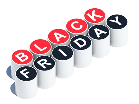 Black friday text on red and black buttons