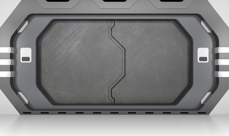 Futuristic metallic door Imagens