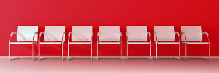 White chairs on red background - wide banner