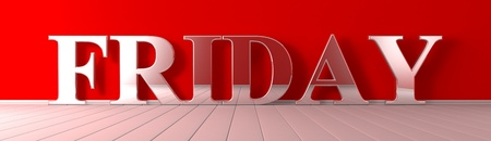 Friday metallic text on red wide banner Imagens