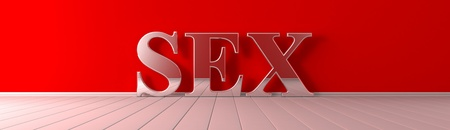 Sex metallic text on red wide banner Imagens