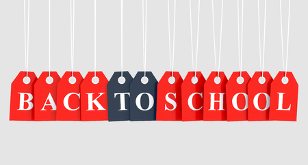 Back to school text on red hanging labels
