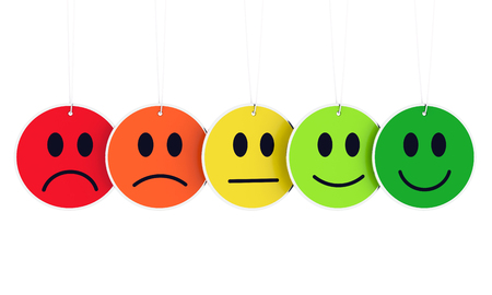 From sad to happy afce expresions - colored hanging faces Imagens