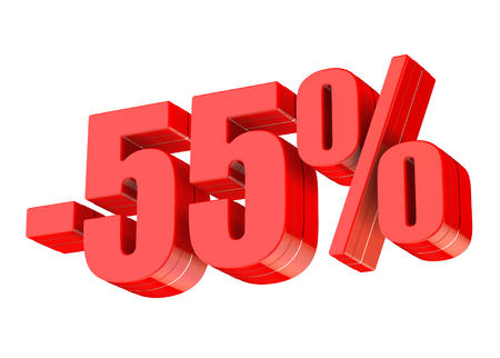 55 percent discount 3d rendered red text isolated on white background Imagens