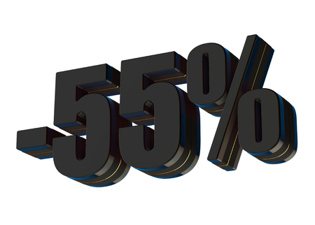 60 percent discount 3d rendered black text isolated on white background Imagens