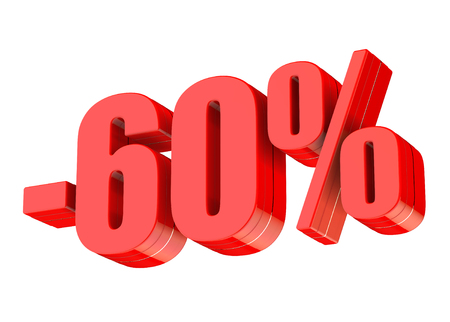 60 percent discount 3d rendered red text isolated on white background Imagens