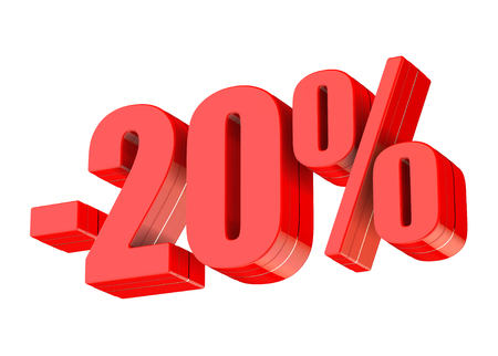 20 percent discount 3d rendered red text isolated on white background Imagens