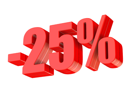 25 percent discount 3d rendered red text isolated on white background
