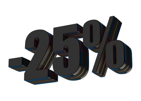 25 percent discount 3d rendered black text isolated on white background Imagens