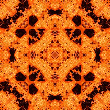 Orange complex symmetrical seamless organic pattern in autumn colors