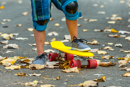Leg are on a skateboard close up. A little boy is getting ready for a ride surrounded by fallen leaves Imagens