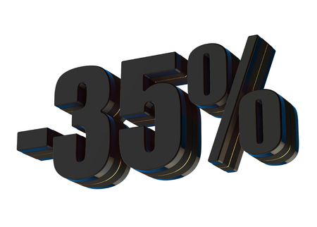 35 percent discount 3d rendered black text isolated on white background Imagens