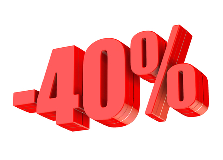 40 percent discount 3d rendered red text isolated on white background
