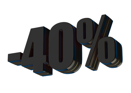 40 percent discount 3d rendered black text isolated on white background