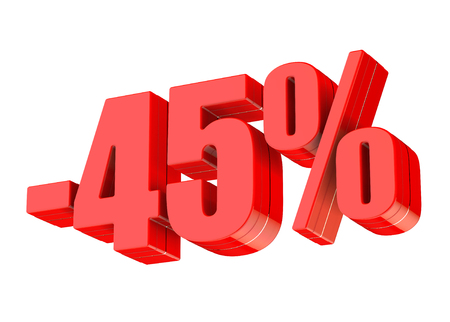 45 percent discount 3d rendered red text isolated on white background