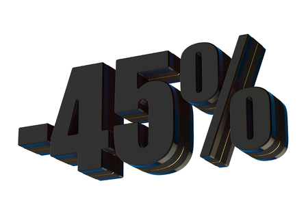 45 percent discount 3d rendered black text isolated on white background