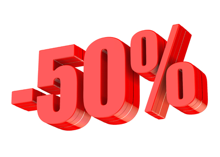 50 percent discount 3d rendered red text isolated on white background 版權商用圖片