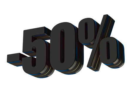 50 percent discount 3d rendered black text isolated on white background