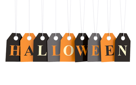 Hallowen text on autumn colorful hanging labels isolated on white background