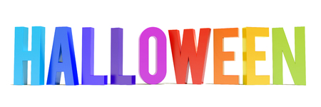 Halloween colorful text on white background Imagens