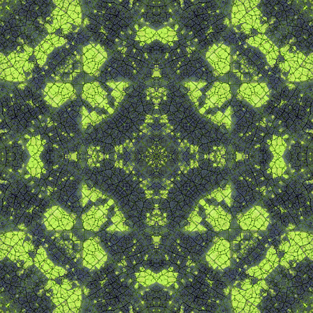 Green complex symmetrical seamless organic pattern Imagens