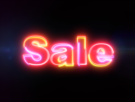 Sale word - colorful glowing outline text on blue lens flare dark background