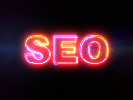 SEO - Search engine optimization - colorful glowing outline text on blue lens flare dark background