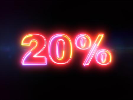 20 percent sign - colorful glowing outline alphabet symbol on blue lens flare dark background