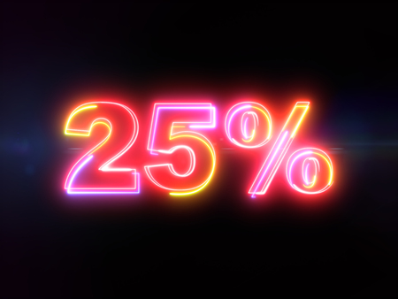 25 percent sign - colorful glowing outline alphabet symbol on blue lens flare dark background