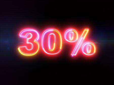 30 percent sign - colorful glowing outline alphabet symbol on blue lens flare dark background