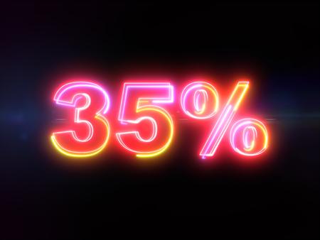 35 percent sign - colorful glowing outline alphabet symbol on blue lens flare dark background