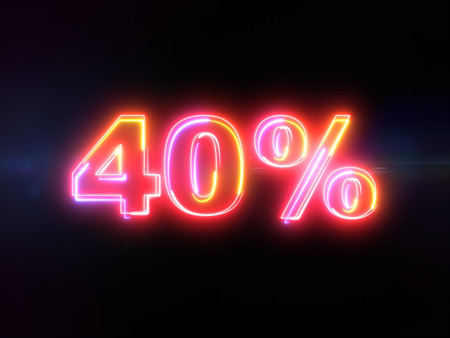 40 percent sign - colorful glowing outline alphabet symbol on blue lens flare dark background Imagens
