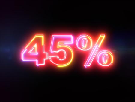 45 percent sign - colorful glowing outline alphabet symbol on blue lens flare dark background