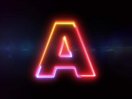 Letter A - colorful glowing outline alphabet symbol on blue lens flare dark background