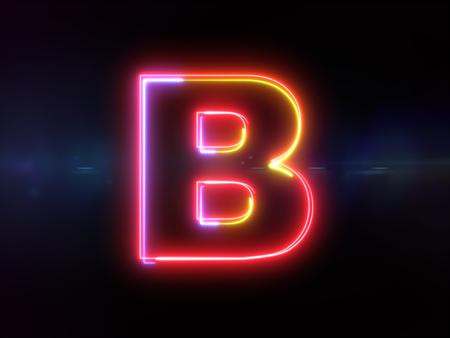Letter B - colorful glowing outline alphabet symbol on blue lens flare dark background